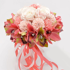 Nydelig Rund Silke blomst Brude Buketter (som selges i et enkelt stykke) -