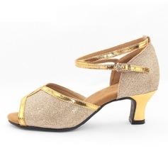 Femmes Similicuir Pailletes scintillantes Sandales Latin avec Ouvertes Chaussures de danse