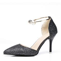 Vrouwen Sprankelende Glitter Stiletto Heel Pumps Closed Toe met Lovertje Imitatie Parel schoenen