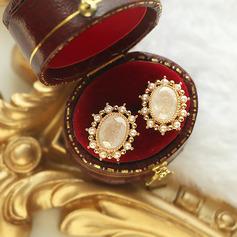 Damen Elegant Vergoldet/Messing- mit Runde Kristall Ohrringe Freunde/Braut