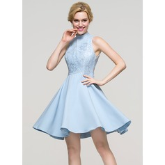 A-Line/Princess High Neck Short/Mini Satin Cocktail Dress (016094601)