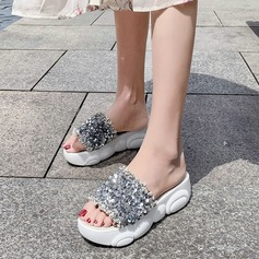 Women's Fabric Wedge Heel Sandals Platform Peep Toe With Sequin shoes