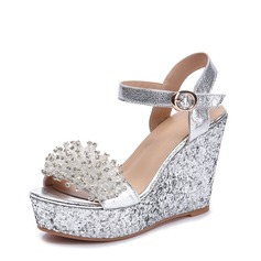 Women's Real Leather Wedge Heel Sandals Wedges Beach Wedding Shoes With Buckle Rhinestone