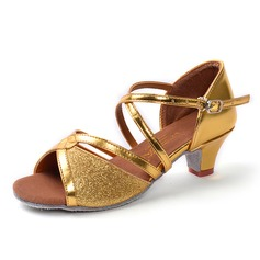 Women's Satin Sparkling Glitter Sandals Latin With Buckle Hollow-out Dance Shoes