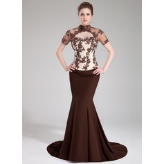 Trumpet/Mermaid High Neck Sweep Train Chiffon Charmeuse Evening Dress With Beading Appliques Lace Sequins