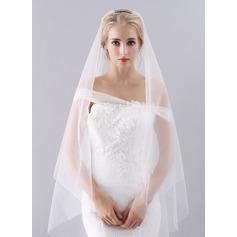 Uno capa Corte de borde Velos de novia vals con Diamantes de imitación