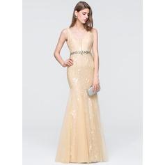 Trumpet/Mermaid V-neck Floor-Length Tulle Prom Dresses With Beading