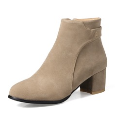 Donna Camoscio Tacco spesso Stiletto Stivali Stivali alla caviglia con Cerniera scarpe