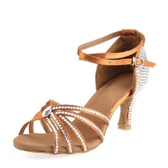 Kadın Saten Topuk Sandalet Latin Ile Ayakkabı Askısı Dans Ayakkabıları