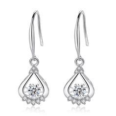 Dames Fantaisie Argent 925 avec Diamant Zircon cubique Boucles d'oreilles la mariée/Demoiselle d'honneur