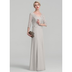 A-Line/Princess Floor-Length Chiffon Lace Mother of the Bride Dress