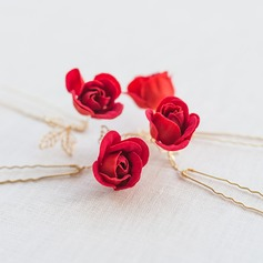 Lovely Alloy/Silk Flower Hairpins  (Sold in a single piece)