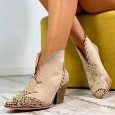 Donna Camoscio Tacco spesso Stivali Stivali alla caviglia scarpe