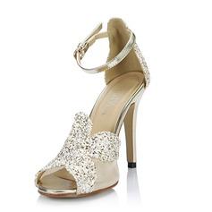 Vrouwen Kunstleer Stiletto Heel Sandalen Pumps Peep Toe met Sprankelende Glitter Gesp schoenen