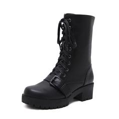Mulheres PU Salto robusto Bombas Plataforma Botas Botas na panturrilha com Fivela Zíper Aplicação de renda sapatos