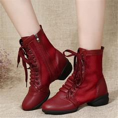 Vrouwen Kunstleer Mesh Laarzen Dans Sneakers modern Jazz Dans Sneakers Dance Boots Dansschoenen