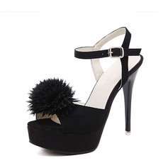Femmes Suède Talon stiletto Sandales Escarpins Plateforme À bout ouvert Escarpins avec Boucle Fourrure chaussures