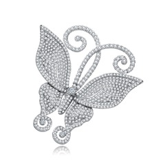 Butterfly Shaped Copper/Zircon/Platinum Plated Women's/Ladies'/Child's Brooch