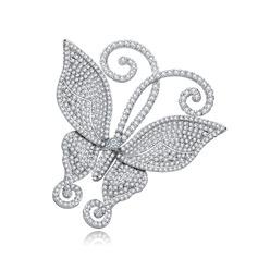 Em forma de borboleta Cobre/Zircon/Platinadas Mulheres/Senhoras/Criança de