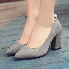 Donna Camoscio Tacco spesso Stiletto Punta chiusa con Strass scarpe