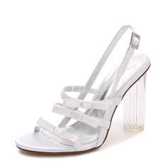 Women's Silk Like Satin Chunky Heel Peep Toe Pumps Sandals Slingbacks MaryJane With Buckle