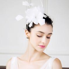 женские марочный перо с перо/шелковые цветы/горный хрусталь Вуалью