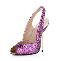 Mulheres Espumante Glitter Salto agulha Peep toe Bombas Sapatos abertos