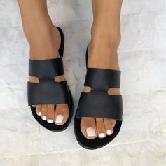 Frauen Kunstleder Flascher Absatz Sandalen Flache Schuhe Schuhe
