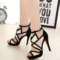 Kvinder Ruskind Stiletto Hæl sandaler Pumps med Delt Bindeled sko