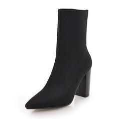 Femmes Tissu Talon bottier Bottes Bottes mi-mollets chaussures