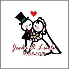 Personlig Brud och brudgummen PVC Klistermärken (Set av 90)