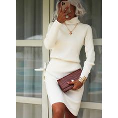 Solid Långa ärmar Fritids Modeklänningar (293248244)