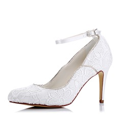 Women's Lace Silk Like Satin Stiletto Heel Pumps With Buckle