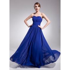 A-Line/Princess Sweetheart Floor-Length Chiffon Evening Dress With Ruffle
