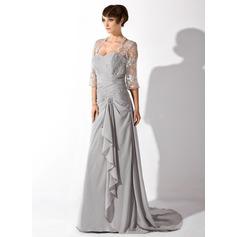 Forme Princesse Bustier en coeur Traîne moyenne Mousseline Robe de mère de la mariée avec Emperler Robe à volants