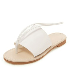 Vrouwen Kunstleer Flat Heel Sandalen Flats Peep Toe Slingbacks schoenen