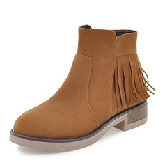 Femmes Suède Talon bas Bottes Bottines avec Zip Tassel chaussures