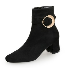 Women's Suede Chunky Heel Pumps Closed Toe Mid-Calf Boots With Zipper Button shoes