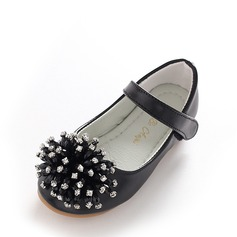 Girl's Leatherette Flat Heel Round Toe Closed Toe Mary Jane Flats With Velcro Tassel