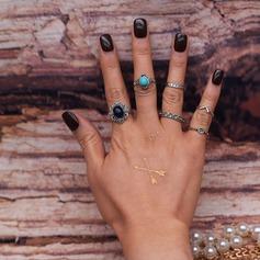 Gorgeous Legering Resin Damer' Mode Ringar (Sats om 6)