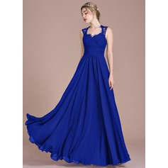 A-Line/Princess Floor-Length Chiffon Lace Bridesmaid Dress With Ruffle Bow(s) (007104746)
