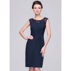 Etui-Linie U-Ausschnitt Knielang Chiffon Kleid für die Brautmutter mit Rüschen Spitze Perlstickerei Pailletten