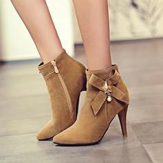 Kvinnor Mocka Stilettklack Pumps Stövlar Boots med Bowknot Zipper skor