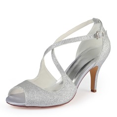 Women's Sparkling Glitter Stiletto Heel Peep Toe Pumps
