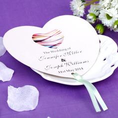 Personlig Hjärta Formad Papper Hand Fans (Set om 12)