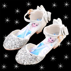 Jentas Round Toe Leather lav Heel Flower Girl Shoes med Bowknot Spenne