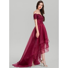 A-Line Off-the-Shoulder Asymmetrical Organza Evening Dress With Sequins