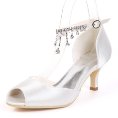 Kvinnor siden som satin Stilettklack Pumps med Strass (047163629)