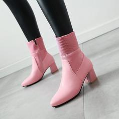 Mulheres Couro Salto robusto Bombas Botas com Outros sapatos