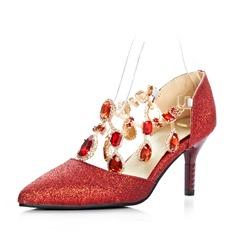 Glittrande Glitter Stilettklack Pumps Stängt Toe med Strass skor